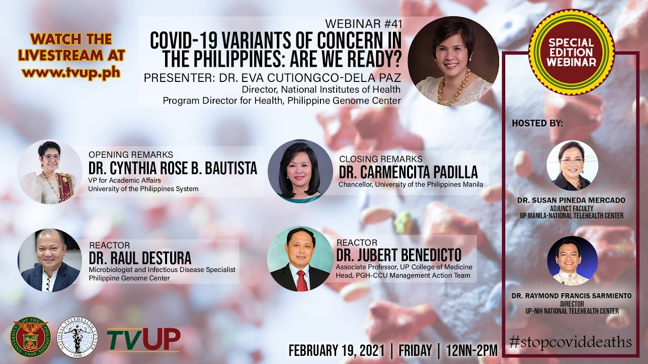 "Webinar #41 | ""COVID-19 Variants of Concern in the Philippines: Are We Ready?"""